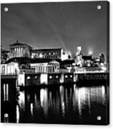 The Philadelphia Waterworks In Black And White Acrylic Print by Bill Cannon