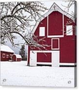 The Red Barn Acrylic Print by Fran Riley