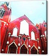 The Red Church By Sharon Cummings Acrylic Print by Sharon Cummings
