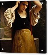 The Red Ribbon Acrylic Print by William Adolphe Bouguereau