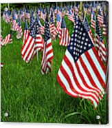 The Red White And Blue  American Flags Acrylic Print by Donna Doherty