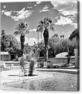 The Sandpiper Pool Bw Palm Desert Acrylic Print by William Dey
