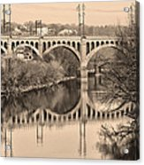 The Schuylkill River And Manayunk Bridge In Sepia Acrylic Print by Bill Cannon
