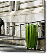 The Story Of Him Waiting And A Green Trashcan Acrylic Print by Joanna Madloch