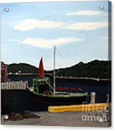 The Tekakwitha - Black Schooner Acrylic Print by Barbara Griffin