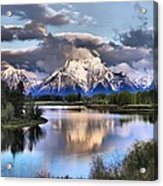 The Tetons From Oxbow Bend Acrylic Print by Dan Sproul
