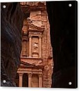 The Treasury Seen From The Siq Petra Jordan Acrylic Print by Robert Preston