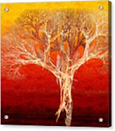 The Tree In Fall At Sunset - Painterly - Abstract - Fractal Art Acrylic Print by Andee Design