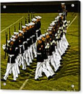 The United States Marine Corps Silent Drill Platoon Acrylic Print by Robert Bales