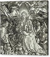 The Virgin And Child Surrounded By Angels Acrylic Print by Albrecht Durer or Duerer