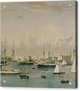The Yacht Squadron At Newport Acrylic Print by Nathaniel Currier and James Merritt Ives