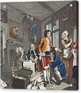 The Young Heir Takes Possession Acrylic Print by William Hogarth