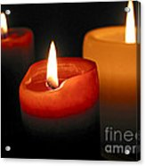 Three Burning Candles Acrylic Print by Elena Elisseeva