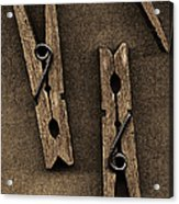 Three Clothes Pins Acrylic Print by Bob RL Evans