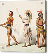 Three Indians Playing Lacrosse Acrylic Print by Unknown