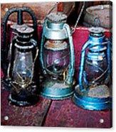 Three Kerosene Lamps Acrylic Print by Susan Savad