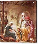 Three Kings Worship Christ Acrylic Print by William Brassey Hole