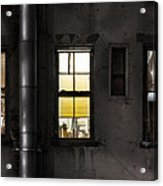 Three Windows And Pipe - The Story Behind The Windows Acrylic Print by Gary Heller