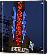 Thunderbolt Rollercoaster Neon Sign Acrylic Print by Edward Fielding