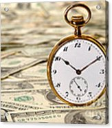 Time Is Over Money Acrylic Print by Olivier Le Queinec