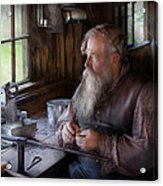 Tin Smith - Making Toys For Children Acrylic Print by Mike Savad