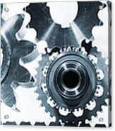 Titanium Aerospace Parts In Blue Acrylic Print by Christian Lagereek