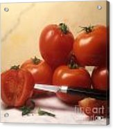 Tomatoes And A Knife Acrylic Print by Bernard Jaubert