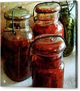 Tomatoes And String Beans In Canning Jars Acrylic Print by Susan Savad