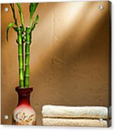 Towels And Bamboo Acrylic Print by Olivier Le Queinec