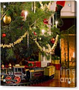 Toy Train Under The Christmas Tree Acrylic Print by Diane Diederich