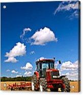 Tractor In Plowed Field Acrylic Print by Elena Elisseeva