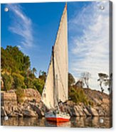 Traditional Egyptian Sailboat On The Nile Acrylic Print by Mark E Tisdale