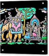 Traditional Indian Ancient Wedding Procession  Emboss Painting Acrylic Print by Bhavana Menon
