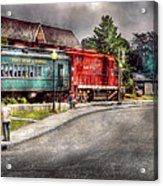 Train - Engine - Black River Western Acrylic Print by Mike Savad
