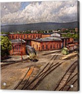 Train - Entering The Train Yard Acrylic Print by Mike Savad