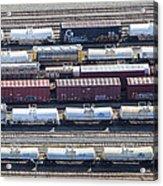 Train Wagons, South Portland Acrylic Print by Dave Cleaveland