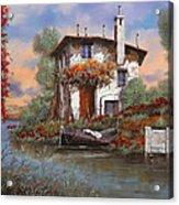 Tramonto Con Bougainvillea Acrylic Print by Guido Borelli