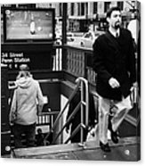 Travellers Exiting And Entering 34th Street Entrance To Penn Station Subway New York City Acrylic Print by Joe Fox