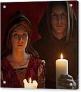 Tudor Medieval Young Attractive Couple  Holding  Candles Acrylic Print by Lee Avison