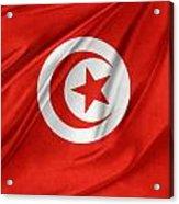 Tunisia Flag Acrylic Print by Les Cunliffe