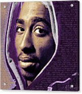 Tupac Shakur And Lyrics Acrylic Print by Tony Rubino