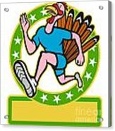 Turkey Run Runner Side Cartoon Acrylic Print by Aloysius Patrimonio