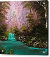 Turquoise Waterfall Acrylic Print by C Steele