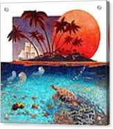 Turtle And Jelly Soup Acrylic Print by David  Chapple