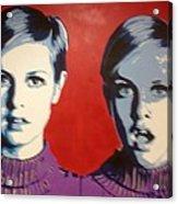 Twiggy Two Face Acrylic Print by Grant  Swinney