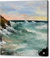 Twilight Surf Acrylic Print by Larry Martin