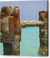 Twin Rusted Dock Piers Of The Caribbean Acrylic Print by David Letts