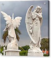 Two Angels With Cross Acrylic Print by Terry Reynoldson