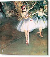 Two Dancers On A Stage Acrylic Print by Edgar Degas