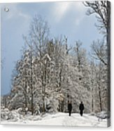 Two People Doing A Walk In Beautiful Forest In Winter Acrylic Print by Matthias Hauser